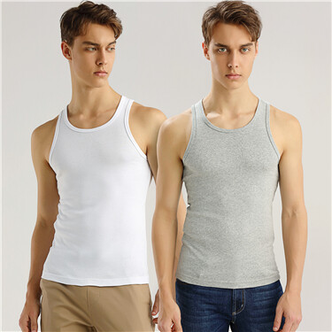 Solid U-neck basic slim vests (2-packs)