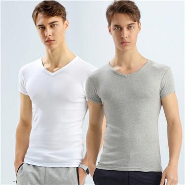 男裝兩件裝純綿V領 T 恤