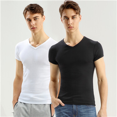 Solid V-neck basic tees (2-packs)