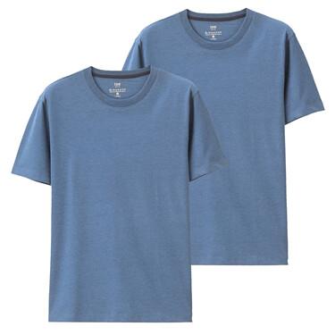 两件装纯色修身圆领短袖T恤