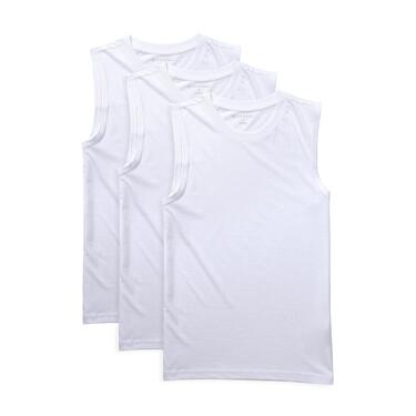 Solid U-neck basic slim vests (3-packs)