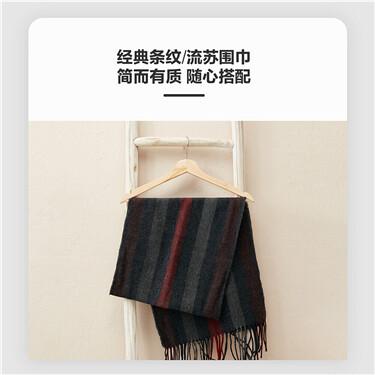 时髦拼色条纹流苏围巾
