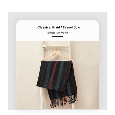 Stylish contrast stripe tassel scarf