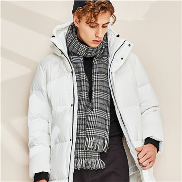 Contrast plaid tassel scarf