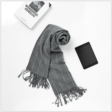 Fringed stripe scarf