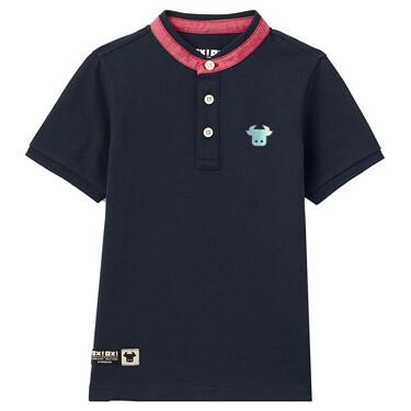 Junior Cotton Mandarin Collar Short Sleeve Printed Polo Shirt