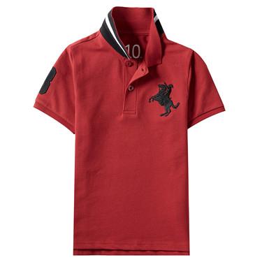 童裝拿破崙刺繡素色短袖POLO衫