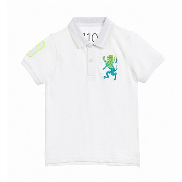 Junior 3D Lion Multi-Color Embroidery Polo