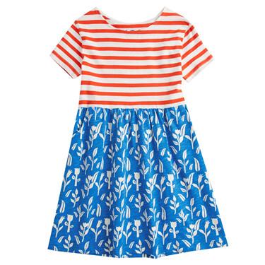 Junior Crew Neck Short Sleeve Print Dress