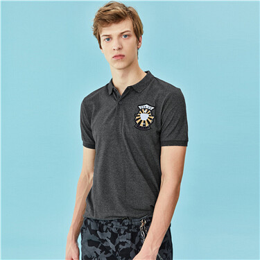 Embroidery stretchy lycra pique polo shirt