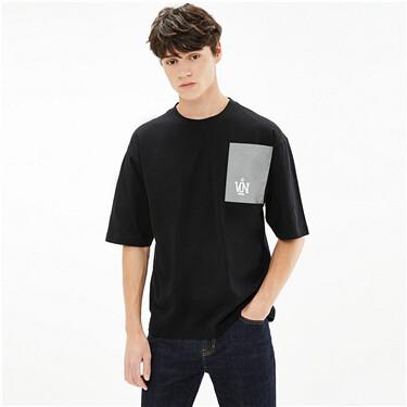 VON反光布拼口袋宽松纯棉圆领T恤