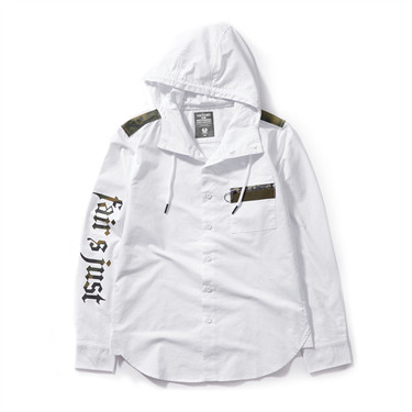 Printed letter hooded shirt