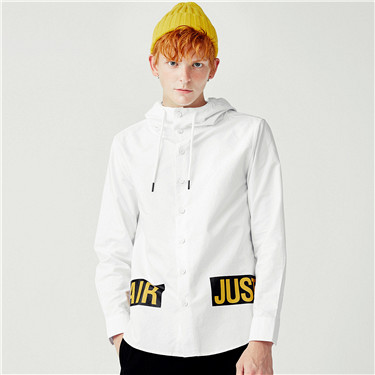 Printed letters hooded long sleeve shirt