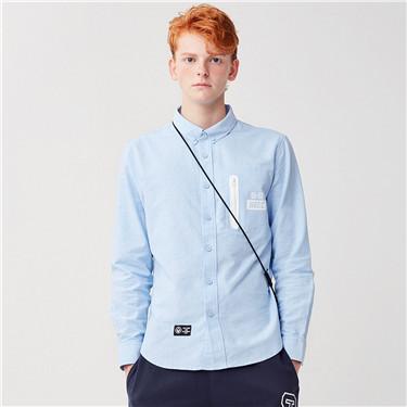 字母印花撞色拉链袋长袖衬衫
