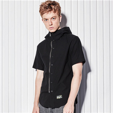 Oxford VON embroidery hooded shirt