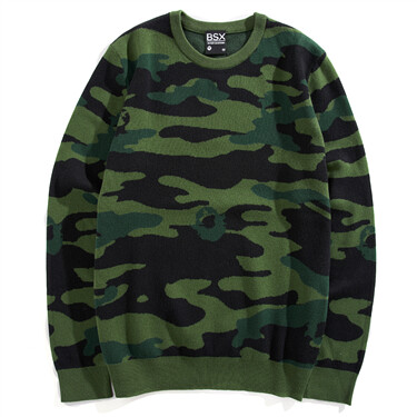 VON camouflage knitted crewneck sweater