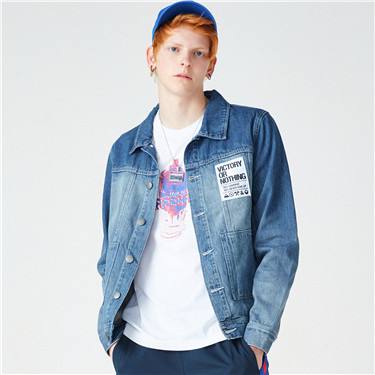 VON letter applique denim jacket