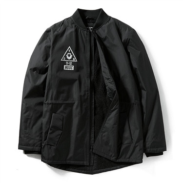 VON printed pattern polyester berber fleece long jacket