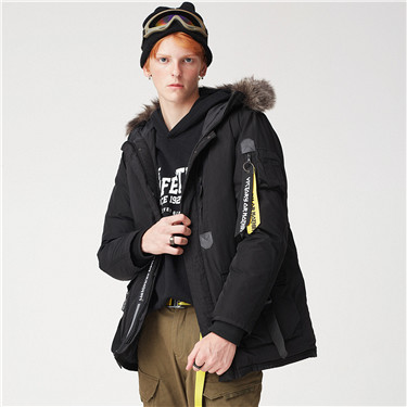 Detachable fur hood down jacket
