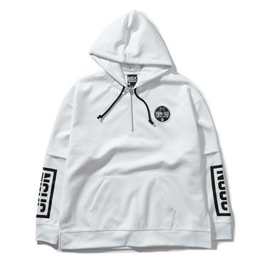 Fake 2-piece VON badge printed hoodies