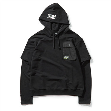 Fake 2-piece hoodies