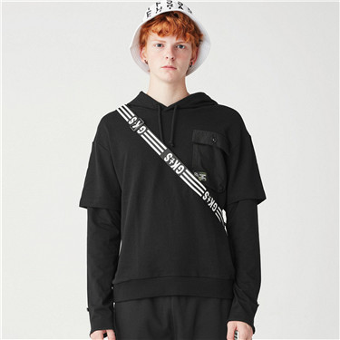Fake 2-piece hoodies