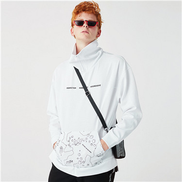 Printed turtleneck pullover hoodies