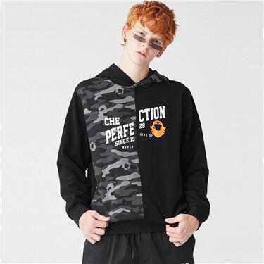 VON Printed pattern fleeced-lining hoodie