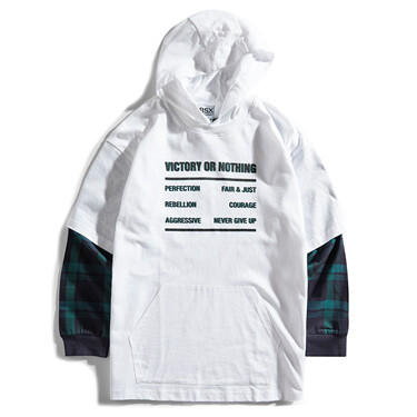 VON printed fake-two-piece hoodie
