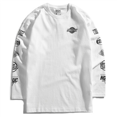 Printed crewneck long-sleeve sweatshirt