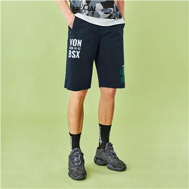 VON printed elastic waistband shorts