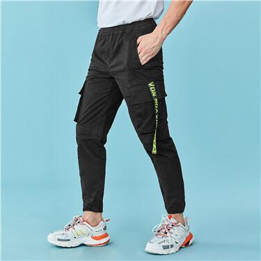 Contrast ribbon cargo pants