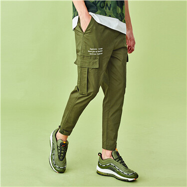 Printed letter cargo pockets pants