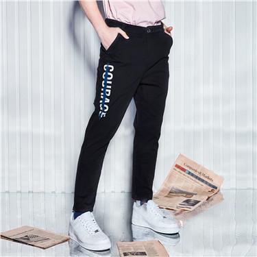 弹力棉字母印花休闲长裤