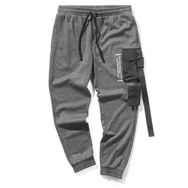 字母印花工装袋束脚裤