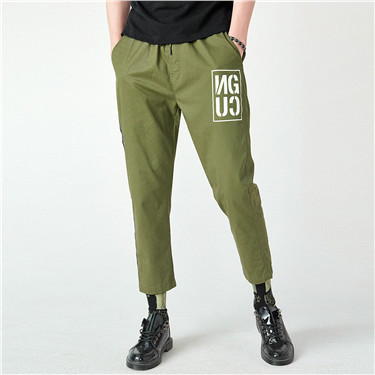 Letter webbing printed casual long pants