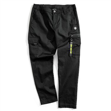 VON logo multi-pocket straight casual pants