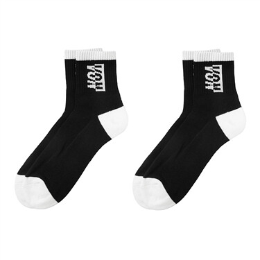 [2 pairs] Von contrast-color socks