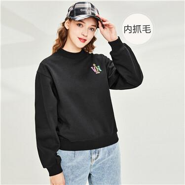Badge fleece-lined crewneck sweatshirt