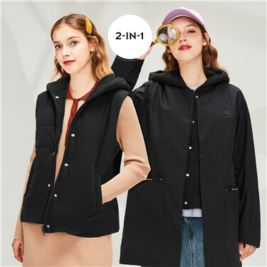 Mid-long two-in-one quilted hooded jacket
