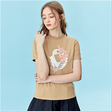 Printed Cotton Round Neck Tee
