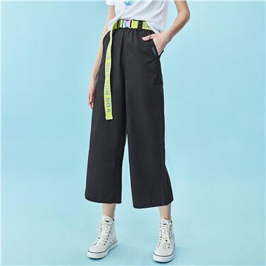 Fluorescent letter belt wide-leg pants