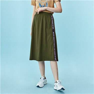 Elastic waistband ribbon mid-long skirt