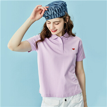 Embroidery stretchy short-sleeve polo shirt