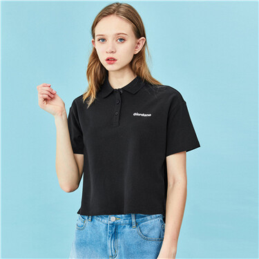Embroidery Loose Sretchy Polo Shirt