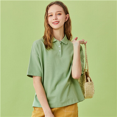 Loose stretchy short-sleeve polo tee