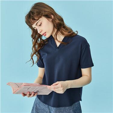 V-neck stretchy short-sleeve polo shirt