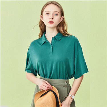 Loose modal short-sleeve polo