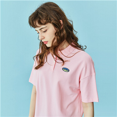 Small Embroidery Stretchy Polo Shirt