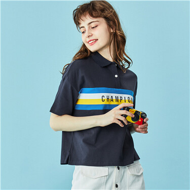Embroidery Stretchy Polo Shirt